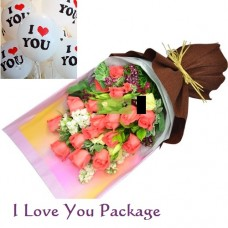 Birthday Package with I Love You Balloons